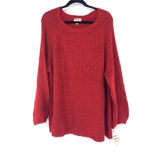 Style &Co Sz 3X Crewneck Pullover Sweater Red